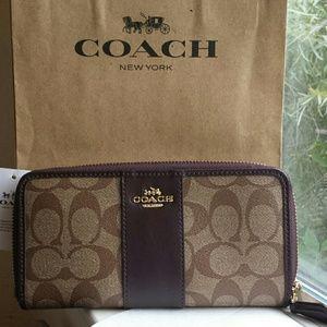 Coach Signature PVC Leather Acordion Zip Wallet