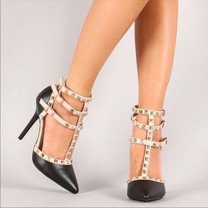 Wild Diva Studded Black & Nude Heels