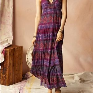 • anthropologie • rubus purple batik maxi dress