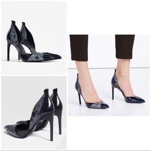 NWT ZARA Faux Snakeskin Contrast Heels Pumps