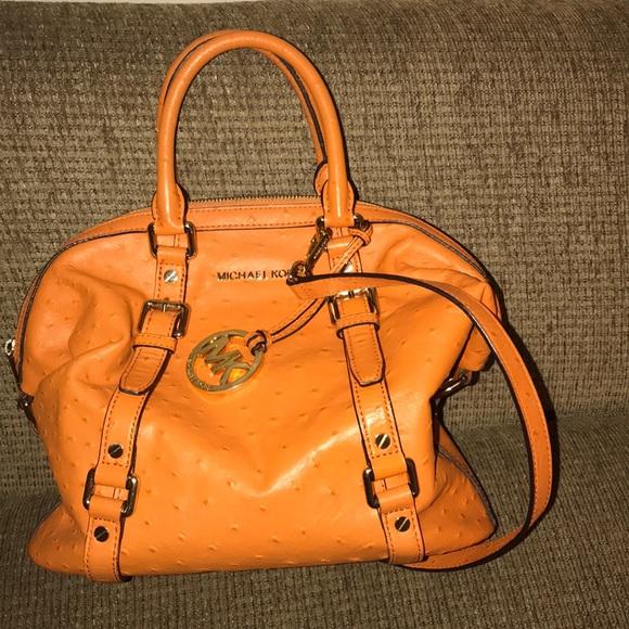 071b8085f00a Michael Kors Bags | Orange Ostrich Bedford Satchel | Poshmark