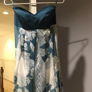 Beautiful strapless maxi dress blue and white