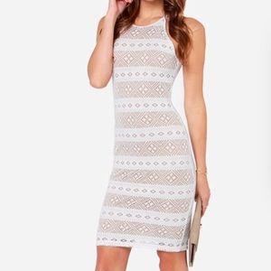 Lulu's Mesh-ing Around Ivory Dress