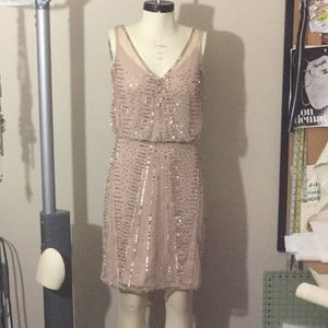 Adrianna Papell Beaded Sequin Shift Party Dress