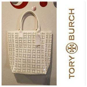$198 TORY BURCH White Logo Shopper Tote