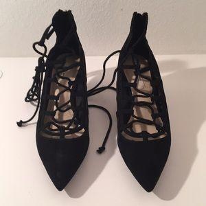 NWT Zara Lace Up Kitten Heel Black Faux Suede 7.5