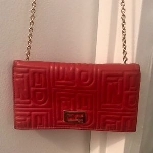 Fendi Red Leather Wallet on a Gold Chain