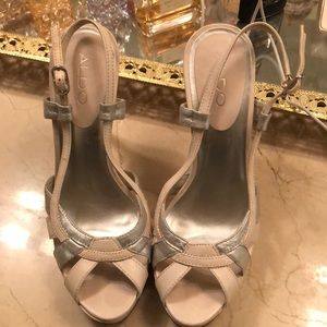 White and Silver sling back heels