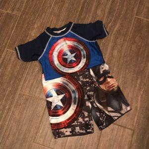 Other - Captain America Swim trunks and swim shirt