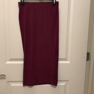 New no tags. Burgundy midi stretch skirt.