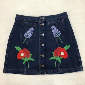 Topshop Floral Embroidered Denim Button Skirt