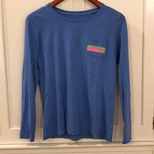 Vineyard Vines blue long sleeve shirt.