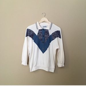 Vintage 90s Sweatshirt Denim & Cream with Collar
