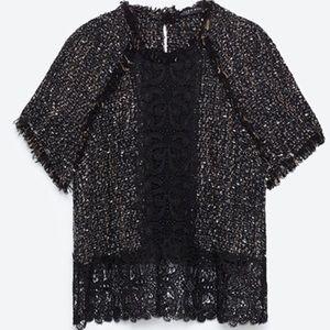 Zara tweed lace black multi top