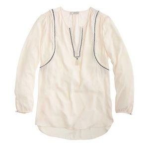 J Crew ivory tunic blouse with tassel detail
