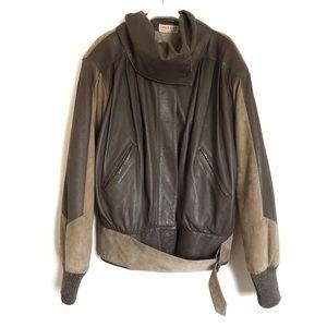 Lina Lee vintage leather suede bomber jacket M