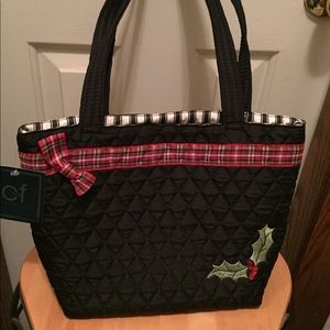 Quilted Black Christmas Handbag
