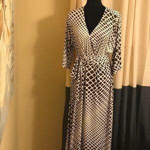 Dresses & Skirts - Brown and Cream Faux Wrap Maxi Dress