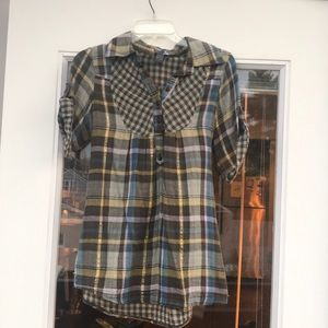Plaid Short Sleeves Frock with Waist Tie