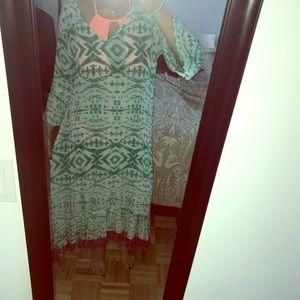 Ruby Yaya green and white long sleeve maxi