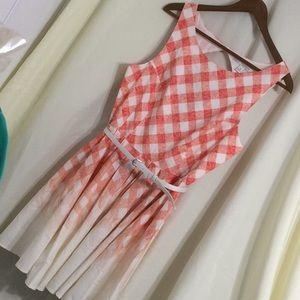 Lauren Conrad gingham sleeveless dress pink ombré
