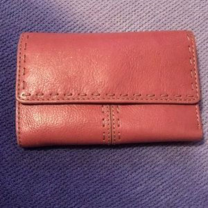 Fossil leather salmon colored wallet