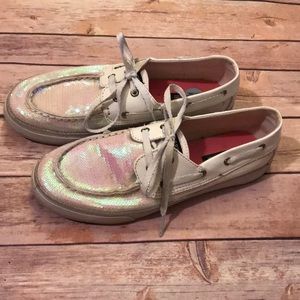 White Sequins Sperrys