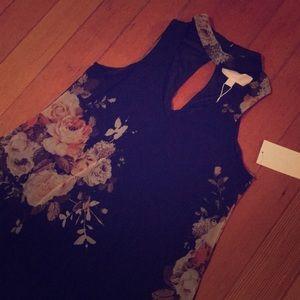 Gigi neck printed mesh dress