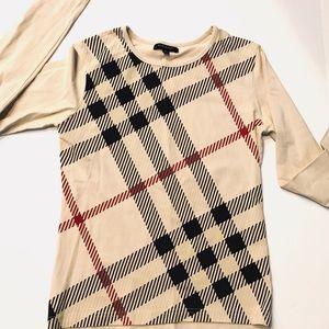 Burberry Big Check Crew Neck T Shirt long sleeve