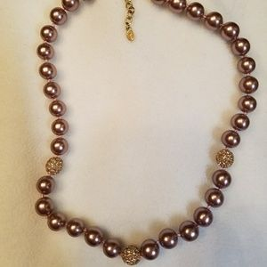 """Pearl"" & crystal necklace"