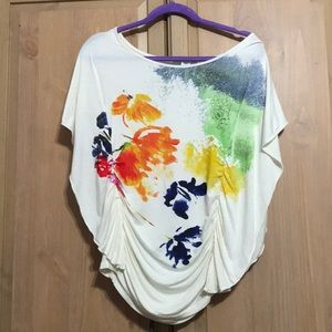 Pretty Dolman Sleeve Watercolor Flowers Blouse