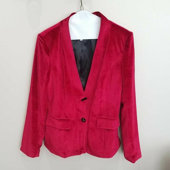Nwot red single button velvet blazer