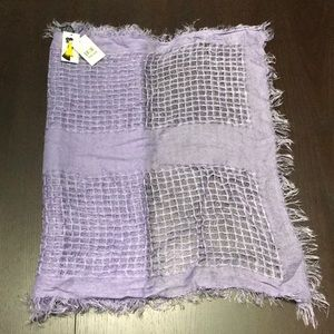 Purple Grid Scarf with Fringe - NWT