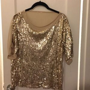 Gold Sequin short sleeved top