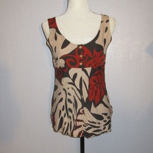 Manuhealii button up sleeveless top monstera print