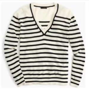 New J. Crew Striped V-Neck Sweater, Navy & Ivory