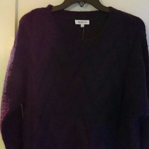 Pull Over Chunky Knit Sweater Purple Plum Small
