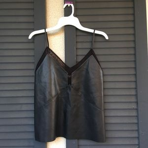 Zara leather and lace tank
