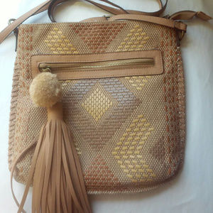 Shoulder Bag Pom Pom and Fringe Pull Camel