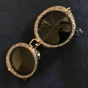 Miu Miu  Grey glitter round Sunglasses