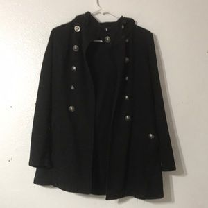 Forever 21 black pea coat with hoodie