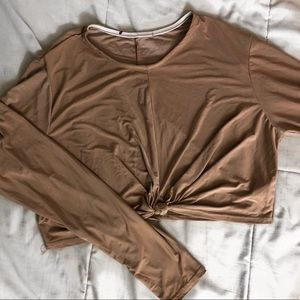 Silk long sleeve crop top