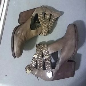 Vintage by Jefferey Campbell Taupe open bootie