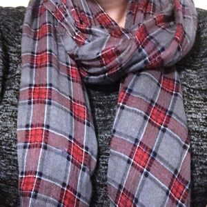 J Crew Grey and Red Plaid Scarf