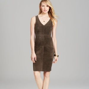 Suede front shift dress!