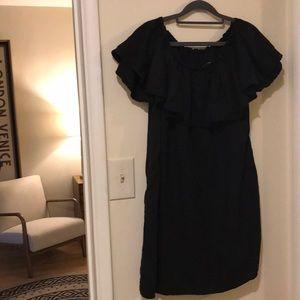 Zara black off the shoulder black dress pockets