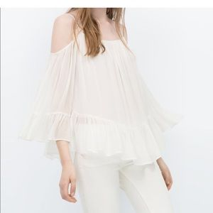 Zara off shoulder bell sleeve top