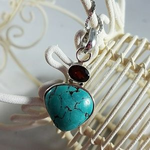Vintage Sterling Silver Turquoise Neclace