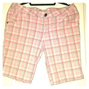 Pink Plaid Capri Pants