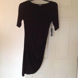 NWT Lulus LBD Black Rouched Half Sleeve Dress Lg